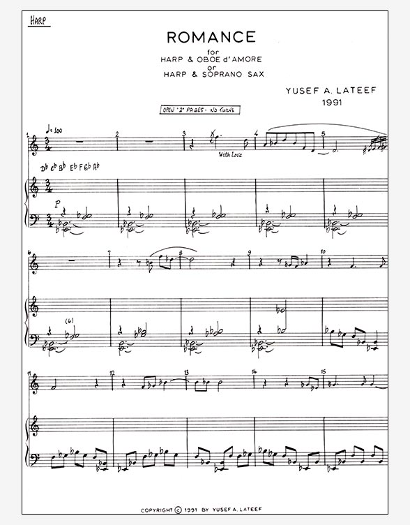 Romance for Harp & Oboe d\'Amore or Harp & Soprano Saxophone