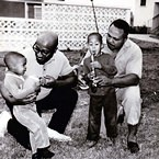 Yusef Lateef with Charles Mingus, Yusef Lateef with Archie Moore and children (photo - Earl Fowler)