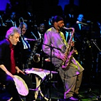 2010 NEA Jazz Master Yusef Lateef performs with Adam Rudolph at the Awards Ceremony Concert at Lincoln Center, NYC (photo - Frank Stewart)