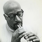 Yusef Lateef playing a double flute (photo - Valerie Wilmer)